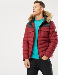 Burton Menswear Puffer Jacket With Colour Block In Red