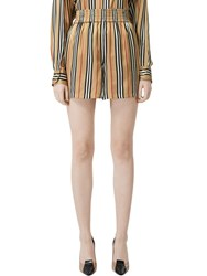 Burberry Check Printed Silk Twill Shorts Archive Beige
