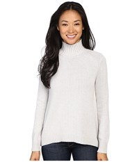 Lilla P Cotton Cashmere Novelty Stitch Turtleneck Soft Heather Women's Sweater White