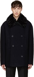 Acne Studios Navy Wool Magnet Peacoat