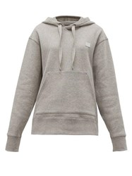 Acne Studios Ferris Face Logo Patch Cotton Hooded Sweatshirt Light Grey