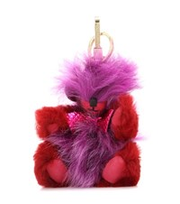 Burberry Thomas Pompom Cashmere And Leather Charm Red