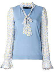 Love Moschino Floral Print Contrast Top Blue