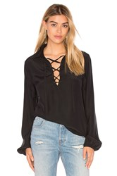 Frame Denim Le Lace Up Blouse Black