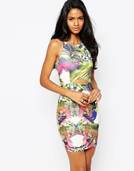 Ax Paris Tropical Dress With Front Cut Out Multi