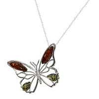 Goldmajor Amber Sterling Silver And Amber Butterfly Pendant Silver Orange