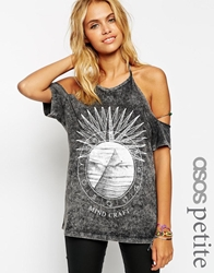 Asos Petite T Shirt With Halter Neck In Acid Wash With Mind Craft Print Charcoal