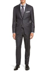 Hickey Freeman Classic Fit Plaid Wool Suit Grey