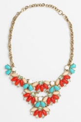 Lee By Lee Angel 'Navette' Stone Bib Necklace Red