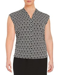 Vince Camuto Plus Ruched Patterned Blouse Grey