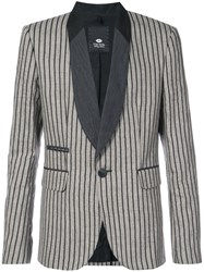 Tom Rebl Striped Shawl Collar Blazer Brown
