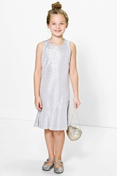 Boohoo All Over Metallic Party Dress Silver