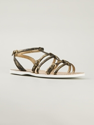 Car Shoe Buckled Strappy Sandals Metallic
