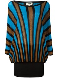 Jean Paul Gaultier Vintage Striped Fitted Long Dress Brown