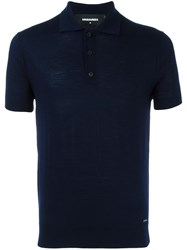 Dsquared2 Spread Collar Polo Shirt Blue