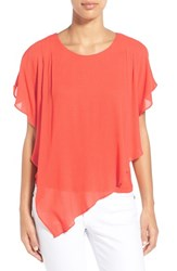 Women's Wit And Wisdom Asymmetrical Short Sleeve Flutter Top Nordstrom Exclusive