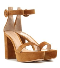 Gianvito Rossi Suede Plateau Sandals Brown