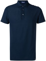 Drumohr Navy Polo Shirt Blue