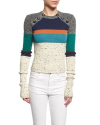 Etoile Isabel Marant Doyle Knit Colorblock Sweater Ivory Multi