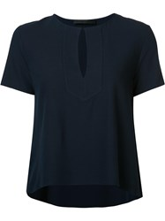 Jenni Kayne Slit Neck Flared Blouse Blue