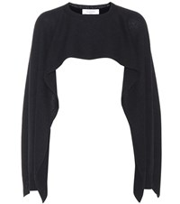 Valentino Cropped Cashmere Cape Black