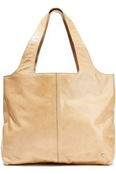 Halston Heritage Woman Glossed Cracked Leather Tote Beige