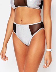 Jaded London High Leg Bikini Bottoms Silver