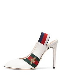 Gucci Sylvie Leather Slingback Pump Great White
