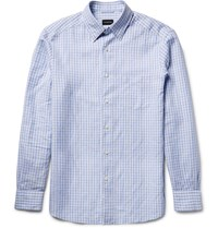 Ermenegildo Zegna Slim Fit Button Down Collar Gingham Cotton And Linen Blend Shirt Blue