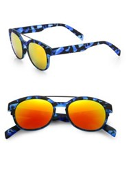 Italia Independent 50Mm Camouflage Round Sunglasses Camo Blue
