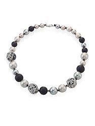Alexis Bittar Crystal Encrusted Mosaic Lace Short Faux Pearl Strand Multi