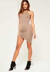 Missguided Nude One Shoulder Bodycon Asymmetric Dress Taupe