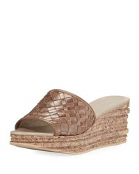 Sesto Meucci Amella Woven Slide Wedge Sandal Medium Brown