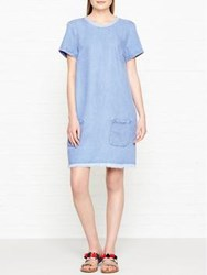 7 For All Mankind Denim Frayed Edge Shirt Dress Blue