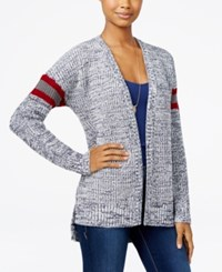 Hippie Rose Juniors' Striped High Low Cardigan Navy Combo