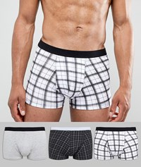 New Look Trunks In Black Check 3 Pack Black Pattern