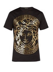 Versace Medusa Gold Print T Shirt Black Gold