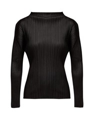 Pleats Please Issey Miyake High Neck Long Sleeve Pleated Top Black