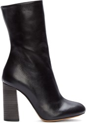 Chloe Black Leather Mid Calf Boots