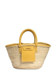 Jacquemus Le Panier Soleil Straw And Leather Bag Yellow