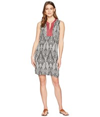 Tribal Printed Dress Contrast Trim With Sleeveless White