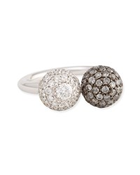 18K White Gold Pave White And Gray Diamond Ball Ring 0.92 Tcw Forevermark