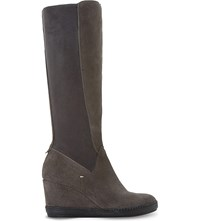 Dune Wedge Suede Knee High Boots Grey Suede
