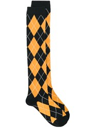 Undercover Argyle Knit Socks Yellow