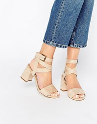 Truffle Collection Wrap Around Ankle Strap Mid Heel Sandal Stone