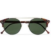 Cutler And Gross Round Frame Tortoiseshell Acetate Gold Tone Sunglasses Brown
