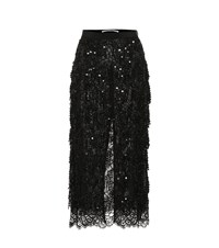 Alessandra Rich Sequined Lace Midi Skirt Black