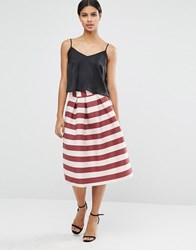Asos Midi Prom Skirt In Pink And Wine Stripe Multi