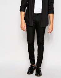 Asos Super Skinny Tuxedo Suit Trousers With Satin Stripe Black