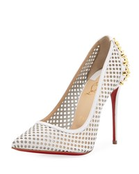 Christian Louboutin Kango Spiked Polka Dot Red Sole Pump White